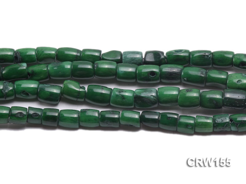 Wholesale 8x10mm Pillar-shaped Green Coral Beads Loose String big Image 2
