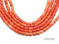 Wholesale 7x10mm Pillar-shaped Orange Coral Beads Loose String CRW157