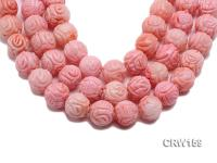 Wholesale 20mm Round Pink Carved Coral Beads Loose String CRW159