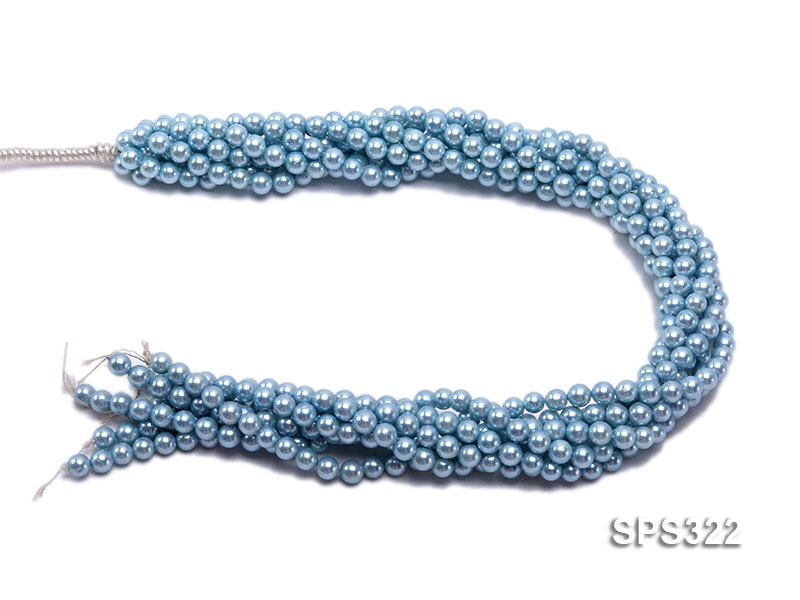Wholesale 6mm Round Sky-blue Seashell Pearl String big Image 3