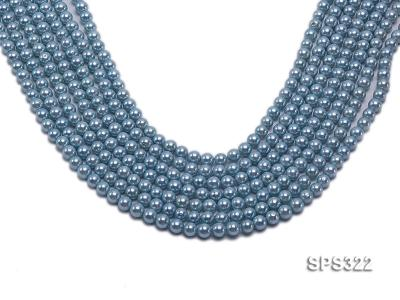 Wholesale 6mm Round Sky-blue Seashell Pearl String SPS322 Image 1