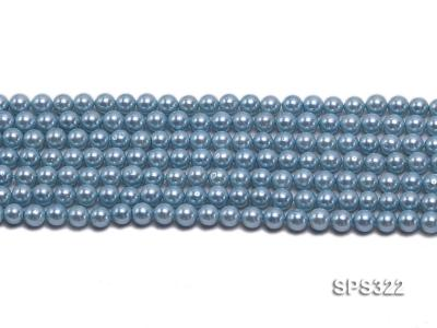 Wholesale 6mm Round Sky-blue Seashell Pearl String SPS322 Image 2
