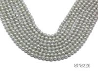 Wholesale 6mm Round Silver Grey Seashell Pearl String SPS326