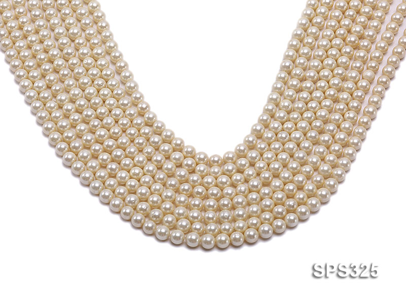 Wholesale 6mm Round Golden Seashell Pearl String big Image 1