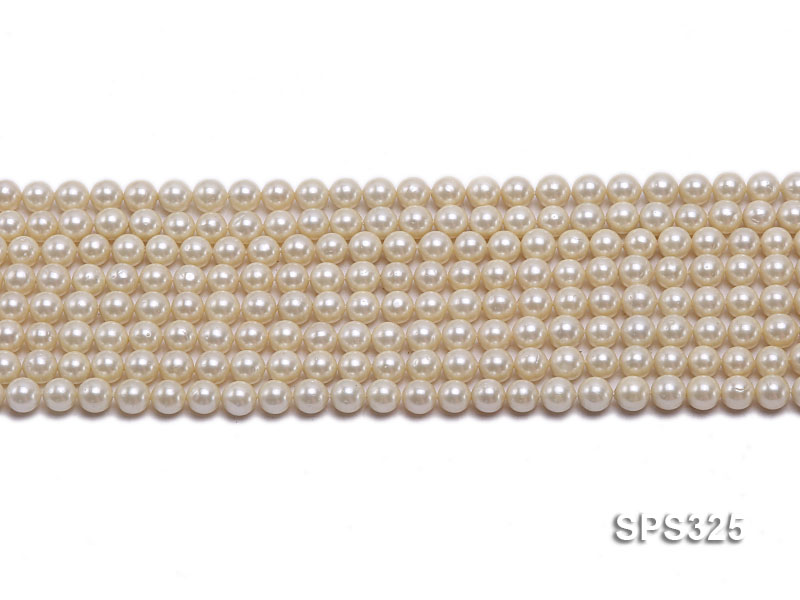 Wholesale 6mm Round Golden Seashell Pearl String big Image 2