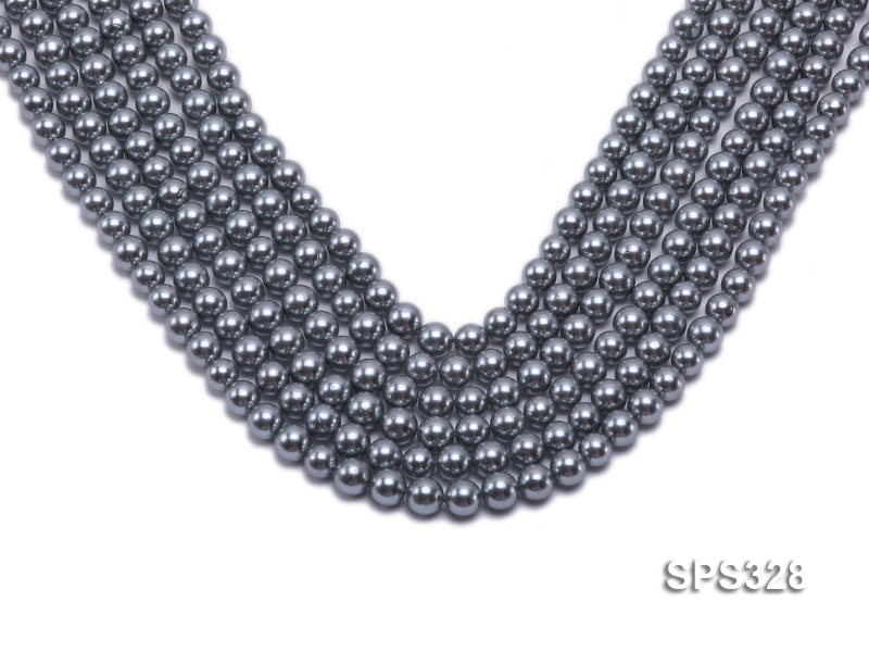 Wholesale 7mm Round Black Seashell Pearl String big Image 1