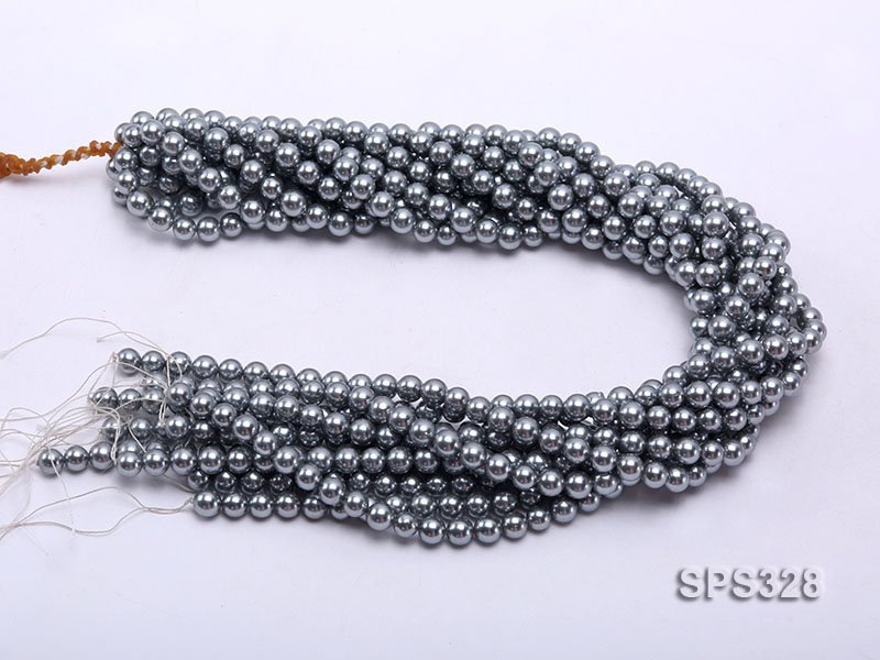 Wholesale 7mm Round Black Seashell Pearl String big Image 3