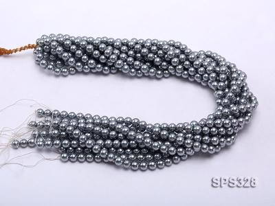 Wholesale 7mm Round Black Seashell Pearl String SPS328 Image 3
