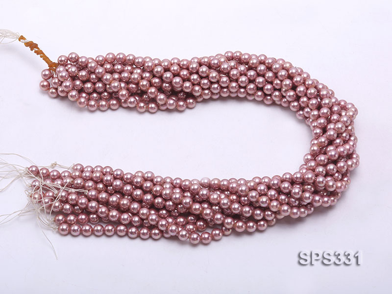 Wholesale 6mm Round Lavender Seashell Pearl String big Image 3