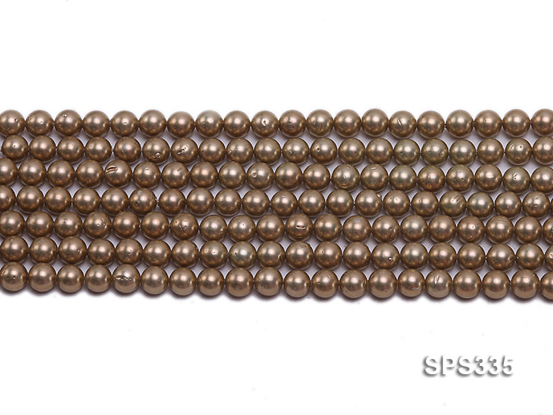 Wholesale 6mm Round Coffee Brown Seashell Pearl String big Image 2