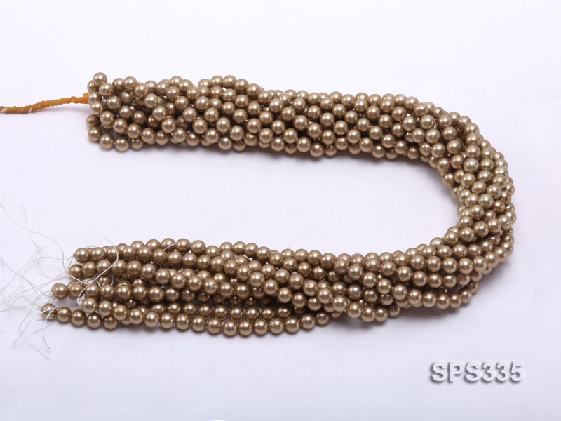 Wholesale 6mm Round Coffee Brown Seashell Pearl String big Image 3