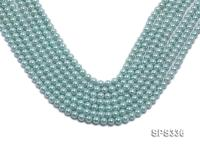 Wholesale 6mm Round Sky-blue Seashell Pearl String SPS336