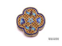 22x22mm Flower-shaped Silver Accessory with Cloisonne Decoration  SSA039