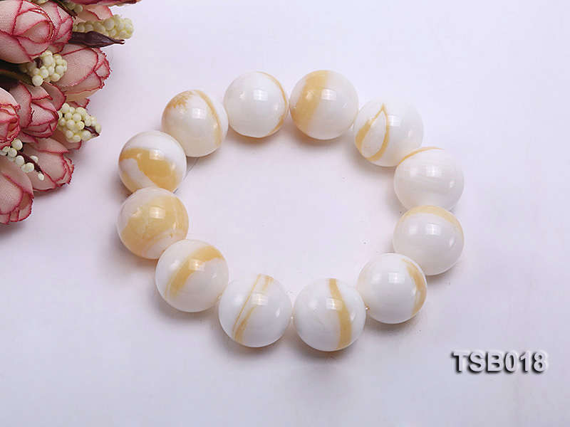 22mm Round Golden Tridacna Bracelet big Image 1