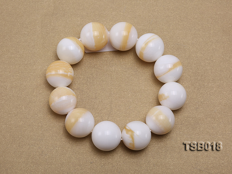 22mm Round Golden Tridacna Bracelet big Image 2
