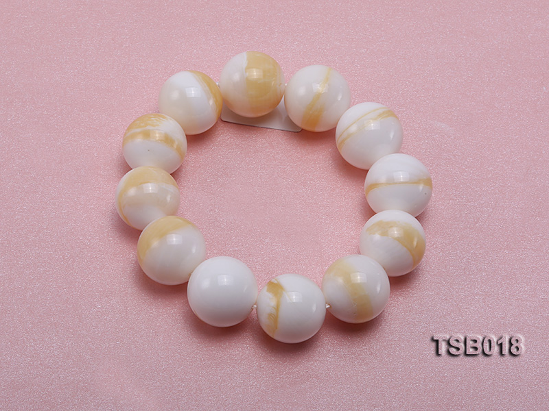 22mm Round Golden Tridacna Bracelet big Image 3