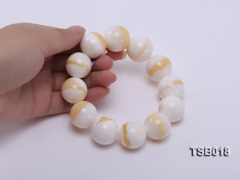 22mm Round Golden Tridacna Bracelet big Image 4