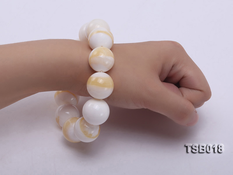 22mm Round Golden Tridacna Bracelet big Image 5