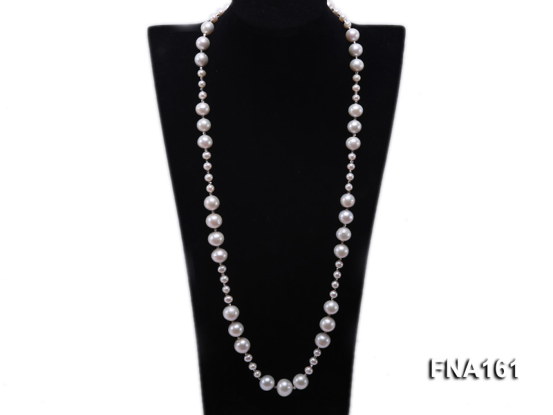 12-15.5mm Classy White Edison Pearl Long Necklace big Image 1