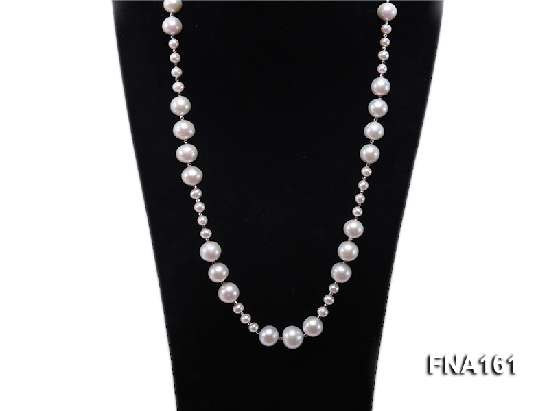 12-15.5mm Classy White Edison Pearl Long Necklace big Image 2