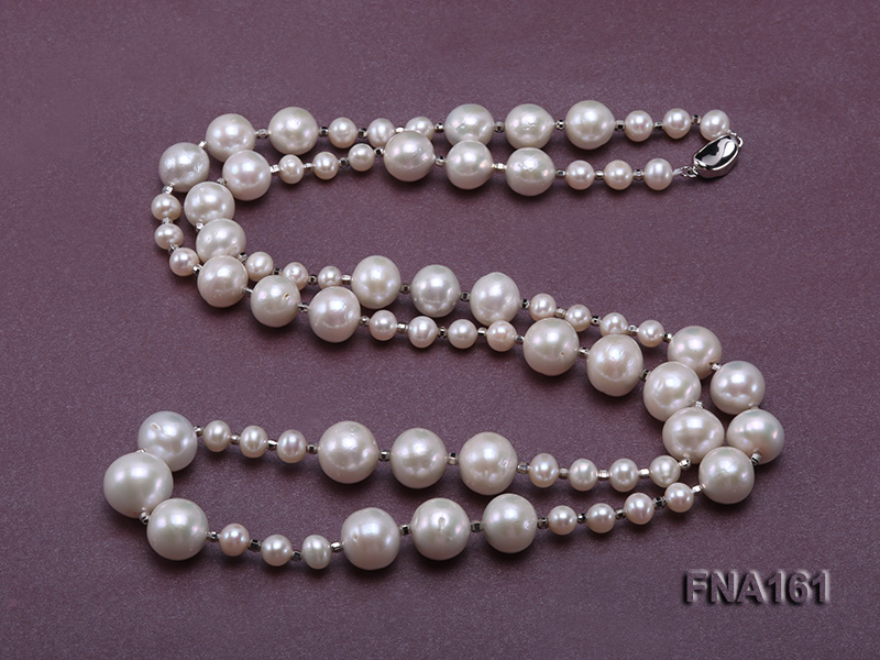 12-15.5mm Classy White Edison Pearl Long Necklace big Image 3