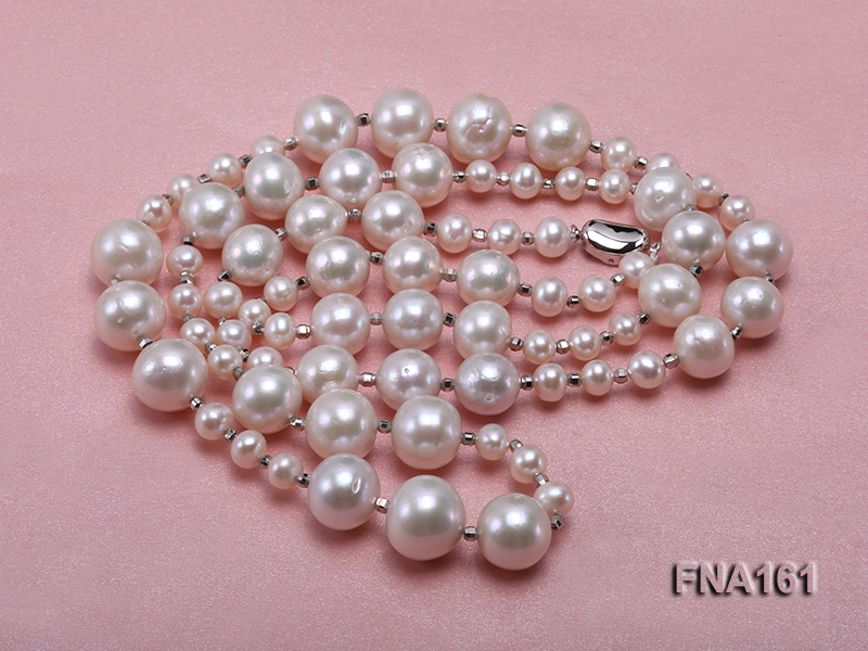 12-15.5mm Classy White Edison Pearl Long Necklace big Image 4
