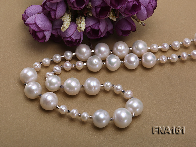 12-15.5mm Classy White Edison Pearl Long Necklace big Image 5