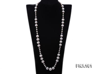 12-15.5mm Classy White Edison Pearl Long Necklace FNA161 Image 1