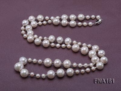 12-15.5mm Classy White Edison Pearl Long Necklace FNA161 Image 3