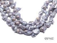 18-30mm Silver Lavender Irregular Pearl String OIP142