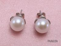9mm White Flat Freshwater Pearl Earrings FES225