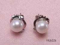 8.5mm White Flat Freshwater Pearl Earrings FES229