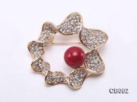 13mm Red Round Coral Brooch CB002