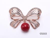 13mm Red Round Coral Brooch CB003