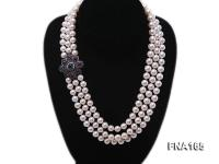 Luxury Three-strand 8-9mm White Round Freshwater Pearl Necklace FNA165