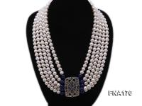 Five-Strand 7-8mm White Round Freshwater Pearl Necklace FNA170