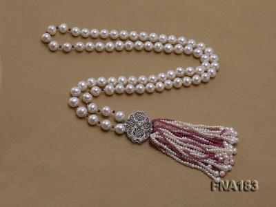 8mm White Round Cultured Freshwater Pearl Necklace FNA183 Image 5