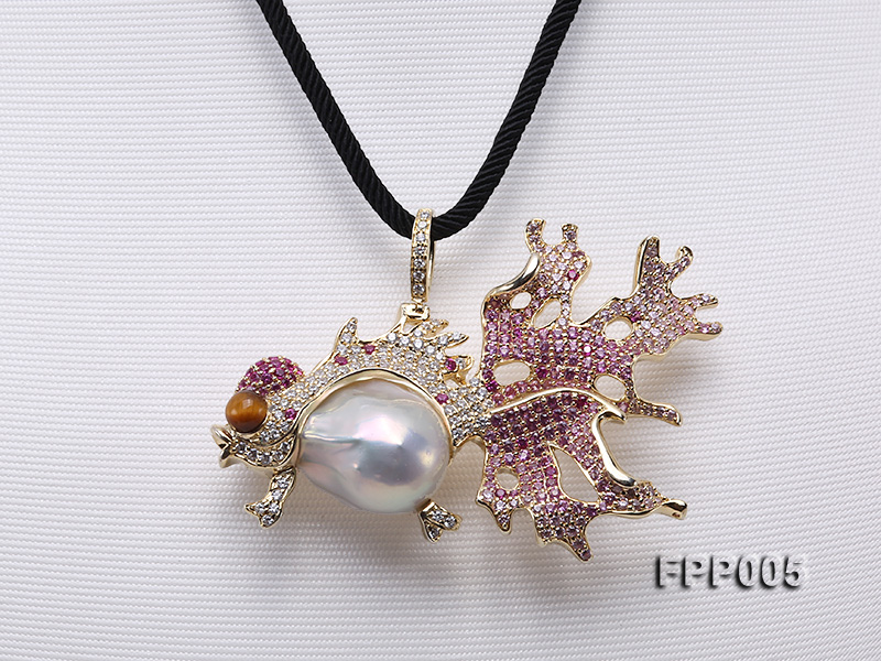 75X50mm Fish-style White Baroque Freshwater Pearl Pendant/Brooch  big Image 1