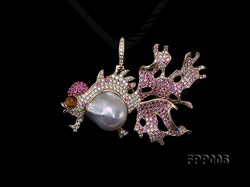 75X50mm Fish-style White Baroque Freshwater Pearl Pendant/Brooch  big Image 2