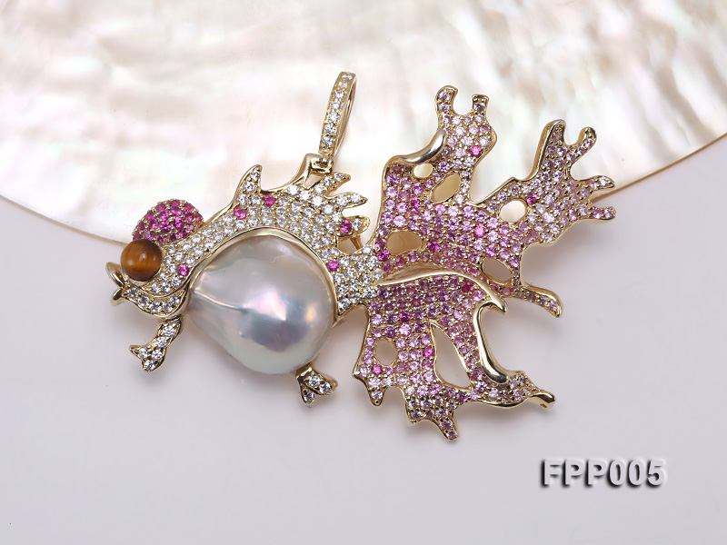 75X50mm Fish-style White Baroque Freshwater Pearl Pendant/Brooch  big Image 6