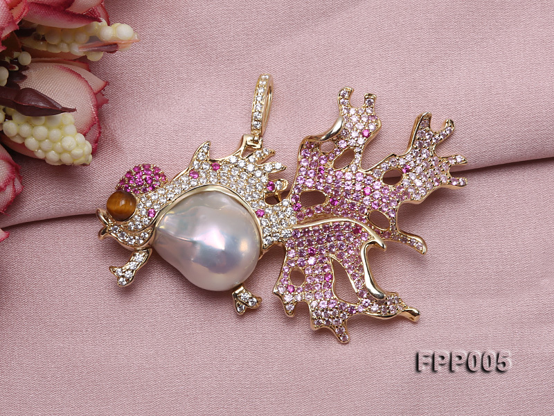 75X50mm Fish-style White Baroque Freshwater Pearl Pendant/Brooch  big Image 7