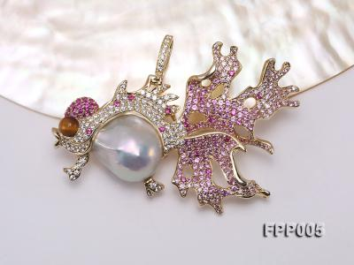 75X50mm Fish-style White Baroque Freshwater Pearl Pendant/Brooch  FPP005 Image 6