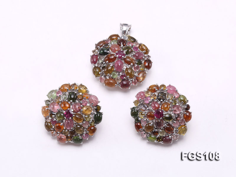 Fine Natural Tourmaline Pendant and Stud Earrings Set Jewelry big Image 1