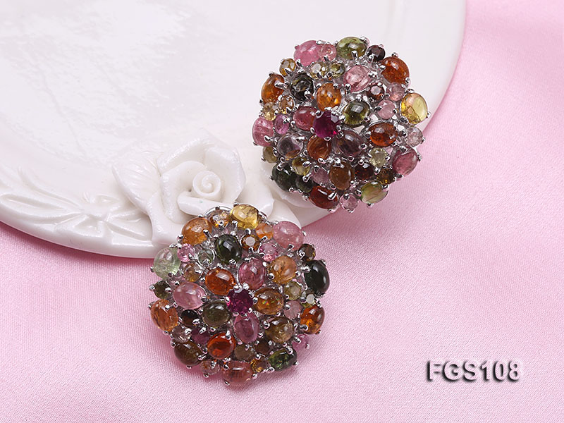 Fine Natural Tourmaline Pendant and Stud Earrings Set Jewelry big Image 2
