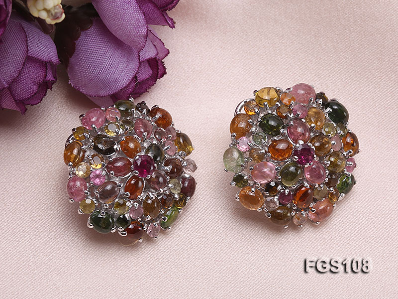Fine Natural Tourmaline Pendant and Stud Earrings Set Jewelry big Image 4