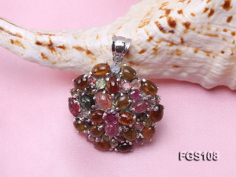 Fine Natural Tourmaline Pendant and Stud Earrings Set Jewelry big Image 5