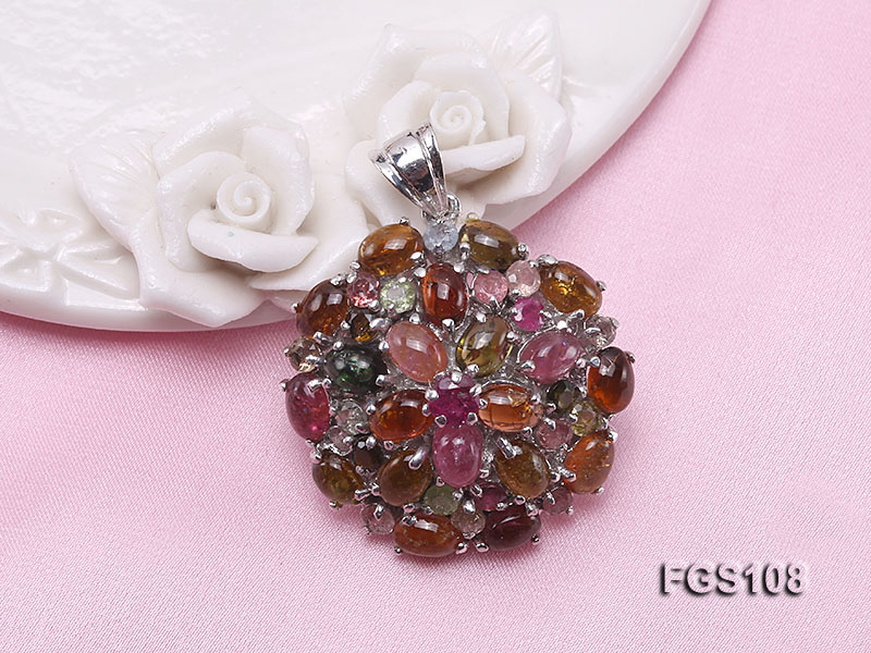 Fine Natural Tourmaline Pendant and Stud Earrings Set Jewelry big Image 6