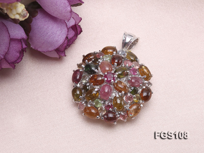 Fine Natural Tourmaline Pendant and Stud Earrings Set Jewelry big Image 7