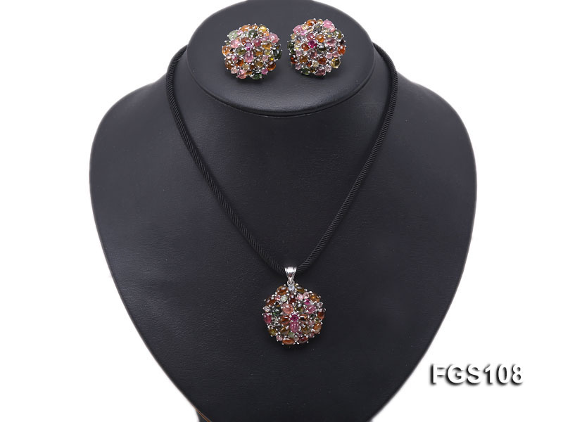 Fine Natural Tourmaline Pendant and Stud Earrings Set Jewelry big Image 8