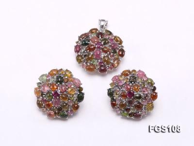 Fine Natural Tourmaline Pendant and Stud Earrings Set Jewelry FGS108 Image 1